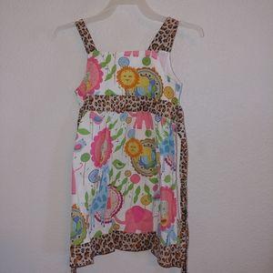 Ann Loren girls jungle animal print dress size 4/5